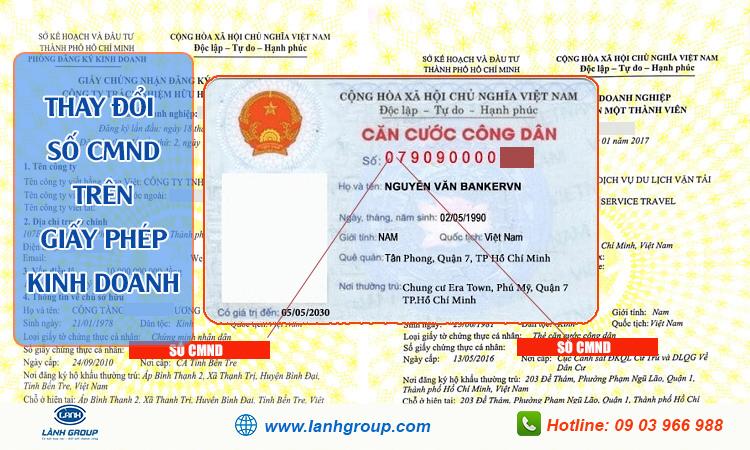 Thay đổi số cmnd trên giấy phép kinh doanh